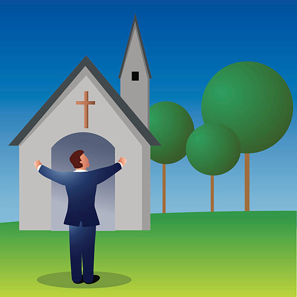 pastor Priest in front of a church.. place of worship stock illustrations
