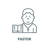 Pastor vector line icon, linear concept, outline sign, symbol