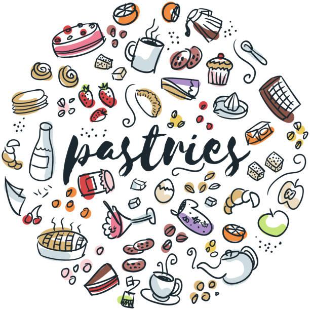 Gebäck und Desserts hand gezeichnete design – Vektorgrafik