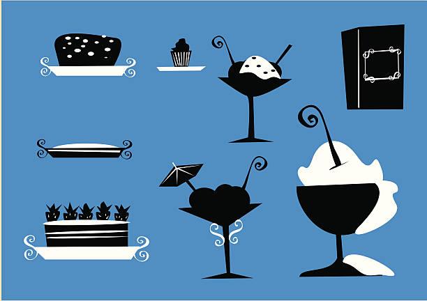Pasteles, tortas, tartas, los domingos, siluetas de los alimentos - ilustración de arte vectorial