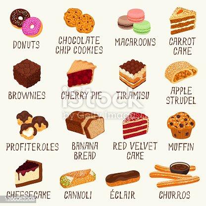 Desserts vector illustration set