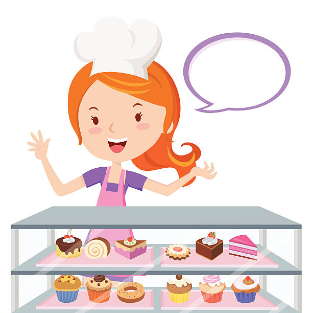 Pastry Chef Vector Art Illustration