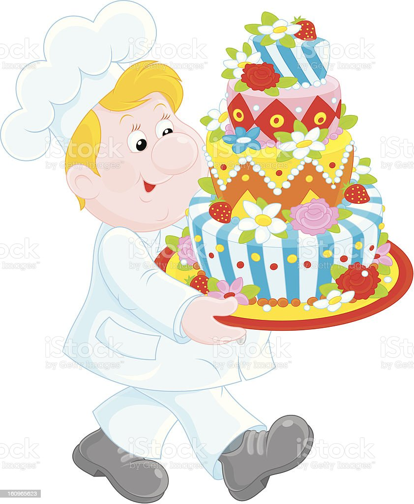 Pastry cook with a cake royalty-free stock vector art