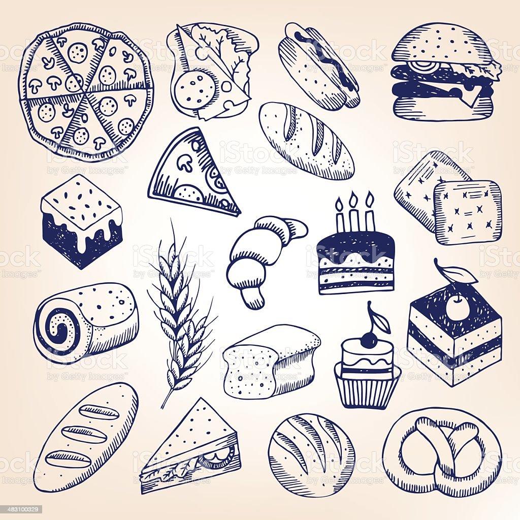 Pastry hand-drawn set vector art illustration