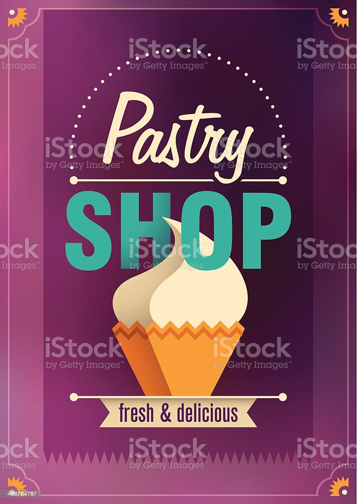 Pastry shop poster design. royalty-free pastry shop poster design stock vector art & more images of alphabet