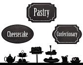 Pastry illustration in silhouette with chalkboard signs