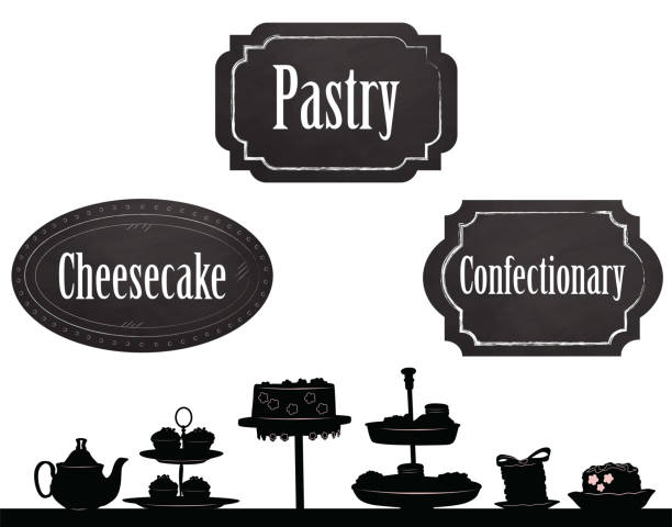 Pastry Shop Signs Pastry illustration in silhouette with chalkboard signs cake silhouettes stock illustrations