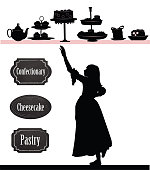 Little girl vector silhouette and pasty shop signs
