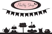 "A vector silhouette illustration of a table fun of pastries on display with a banner above and a sign reading ""Pastry Shop"""