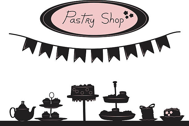 Pastry Shop Window Elements A vector silhouette illustration of a table fun of pastries on display with a banner above and a sign reading