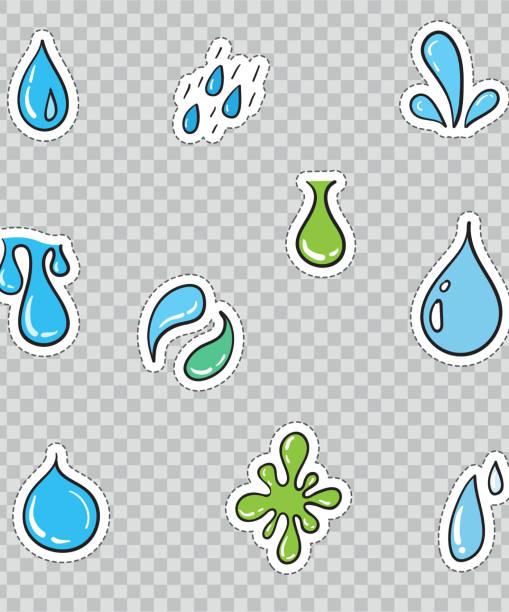 stockillustraties, clipart, cartoons en iconen met patch badges met water druppels. vector illustratie geïsoleerd op transparante achtergrond. set pack van stickers, pinnen, patches in cartoon 80 's-90 's komische stijl. - tasting