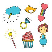 Patch collection with heart, star, rainbow, cupcake, bird, crown, princess diamond, crystal, magic wand. Cartoon sewing elements. Hand drawn vector Illustration, kid textyle Fashion trend pin badge