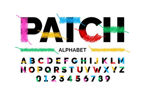 illustrazioni stock, clip art, cartoni animati e icone di tendenza di patched font design - pezze di stoffa
