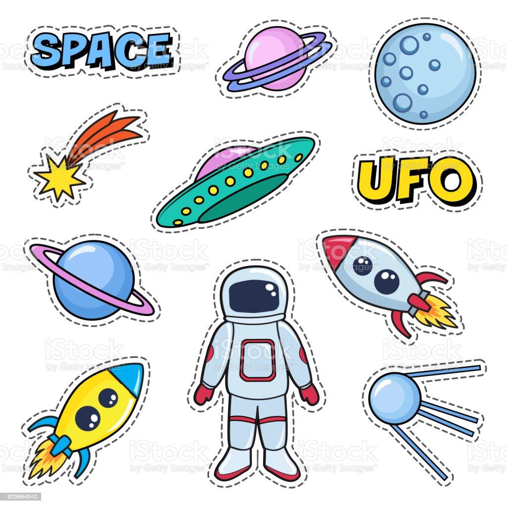 パッチ スペース宇宙飛行士惑星ロケット宇宙船でかわいいセット月 Ufo
