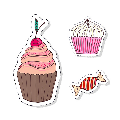 Patches elements with sweets food. Vector doodle funny badges. Modern clip art. Cartoon stickers design.