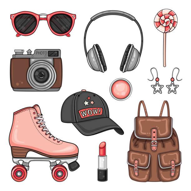 patches mit rollschuhen, kappe, foto-kamera und kopfhörer set - rollschuh stock-grafiken, -clipart, -cartoons und -symbole