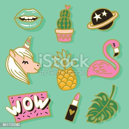 Fashion cute enamel pin, patches, stickers set. Pop art fashion vector illustration.