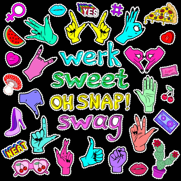 patches mit händen, slang-wörter und phrasen und anderen elementen. - swag stock-grafiken, -clipart, -cartoons und -symbole