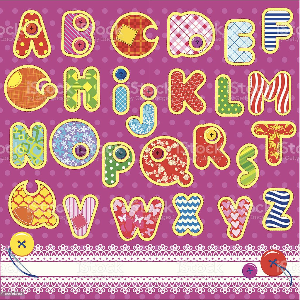 Patchwork ABC alphabet - letters are made of  ornamental fabrics royalty-free patchwork abc alphabet letters are made of ornamental fabrics stock vector art & more images of abstract