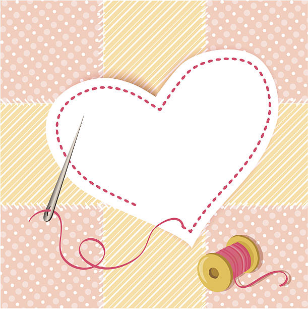 patchwork heart with a needle thread vector art illustration