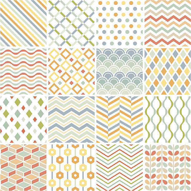 Patchwork of 16 geometric patterns on white Set of simple geometric patterns. tartan pattern stock illustrations
