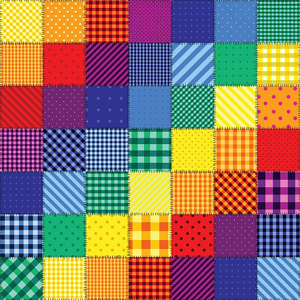 stockillustraties, clipart, cartoons en iconen met patchwork pattern of rainbow colors - patchwork