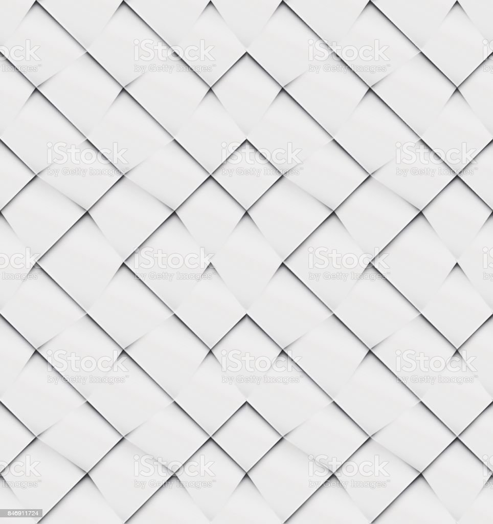 Patchwork seamless white origami pattern vector art illustration