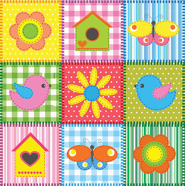 Patchwork with birds and birdhouses vector art illustration