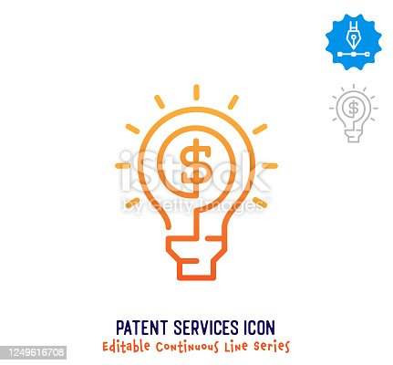 istock Patent Services Continuous Line Editable Icon 1249616708