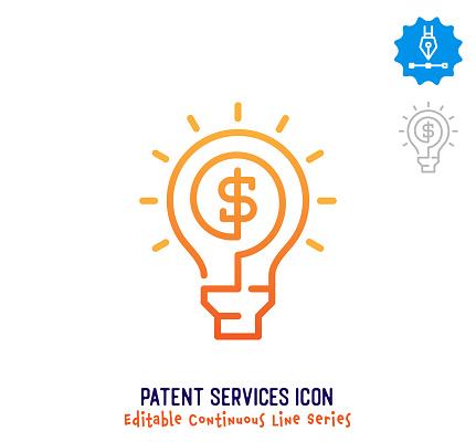 Patent Services Continuous Line Editable Icon