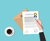 patented patent document with badge and stamp vector graphic