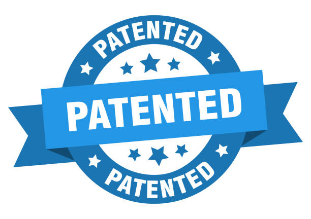patented ribbon. patented round blue sign. patented vector art illustration