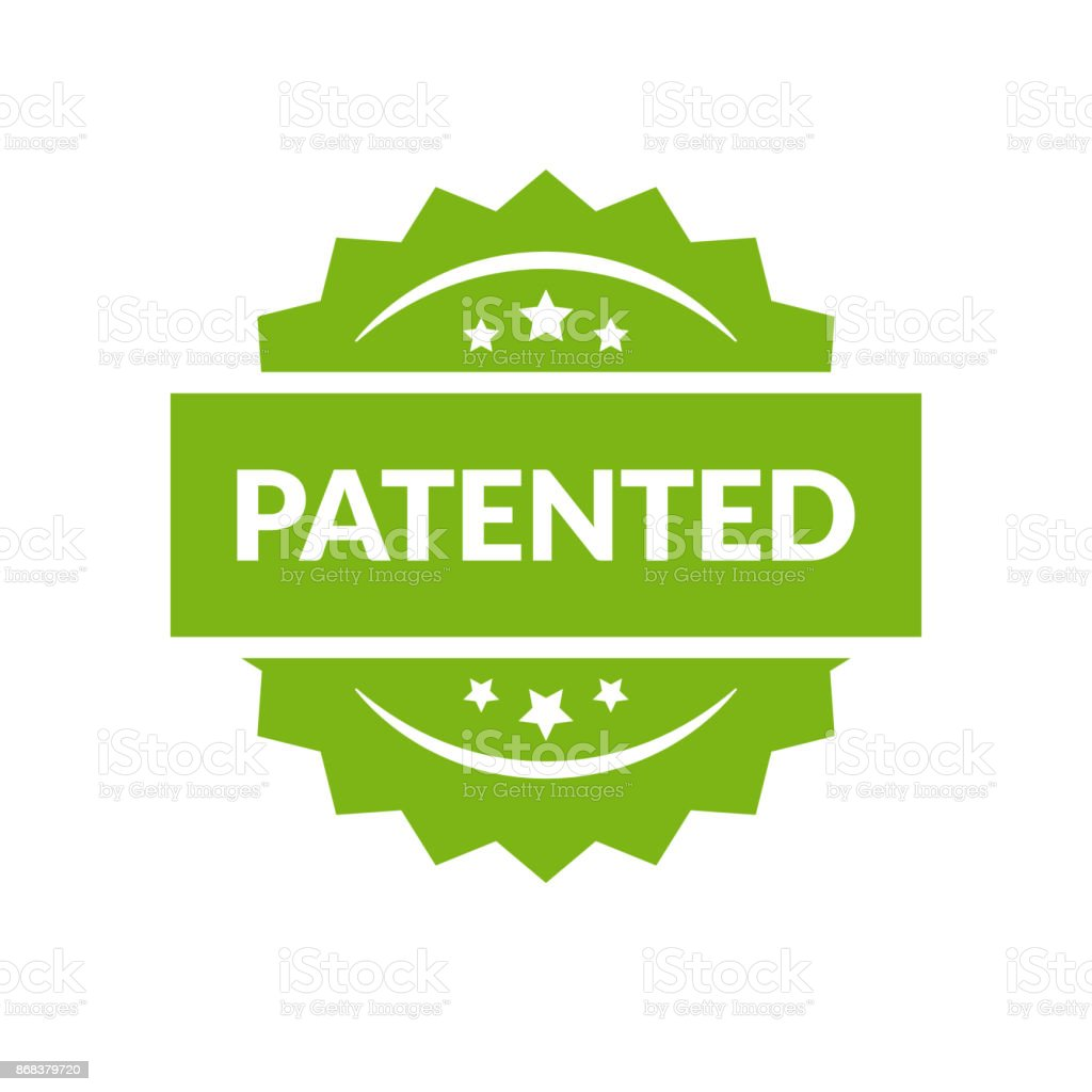 Patented stamp vector label, flat cartoon patent badge isolated on white background. vector art illustration