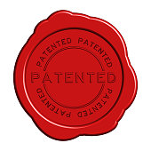 Patented word red color rubber stamp on white background