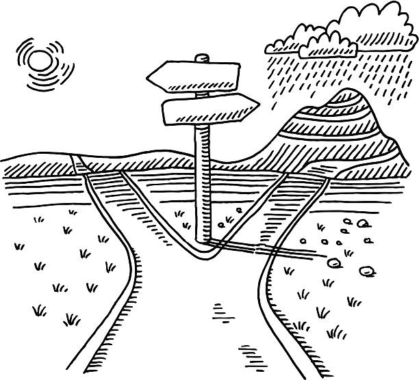 path direction sign choice drawing - black and white mountain stock illustrations, clip art, cartoons, & icons
