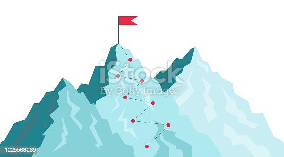 Path in mountain. Success journey with goal in destination. Challenge for leaders growth. Flag in peak of progress. Top target in career. Route and plan for sport, business climb achievement. Vector.