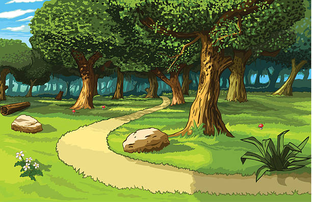 path in the forest vector art illustration