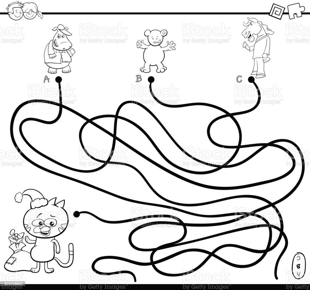 Yol Labirent Oyun Boyama Sayfası Stok Vektör Sanatı Anaokulunin
