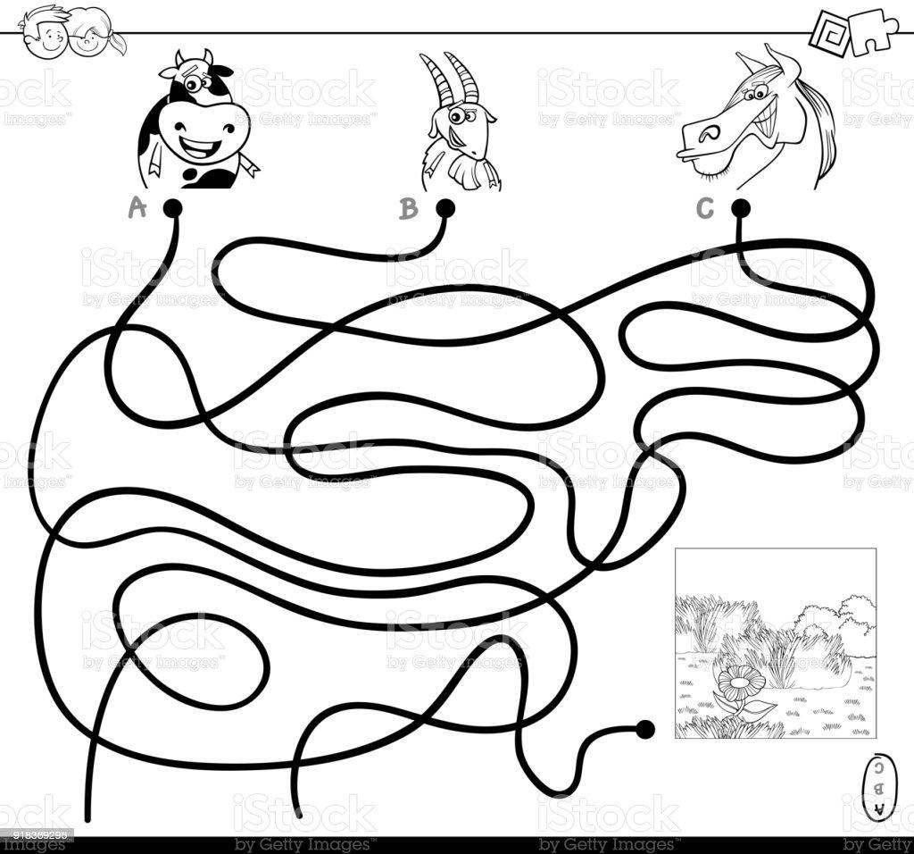 Path Maze With Farm Animals Color Book Stock Illustration ...