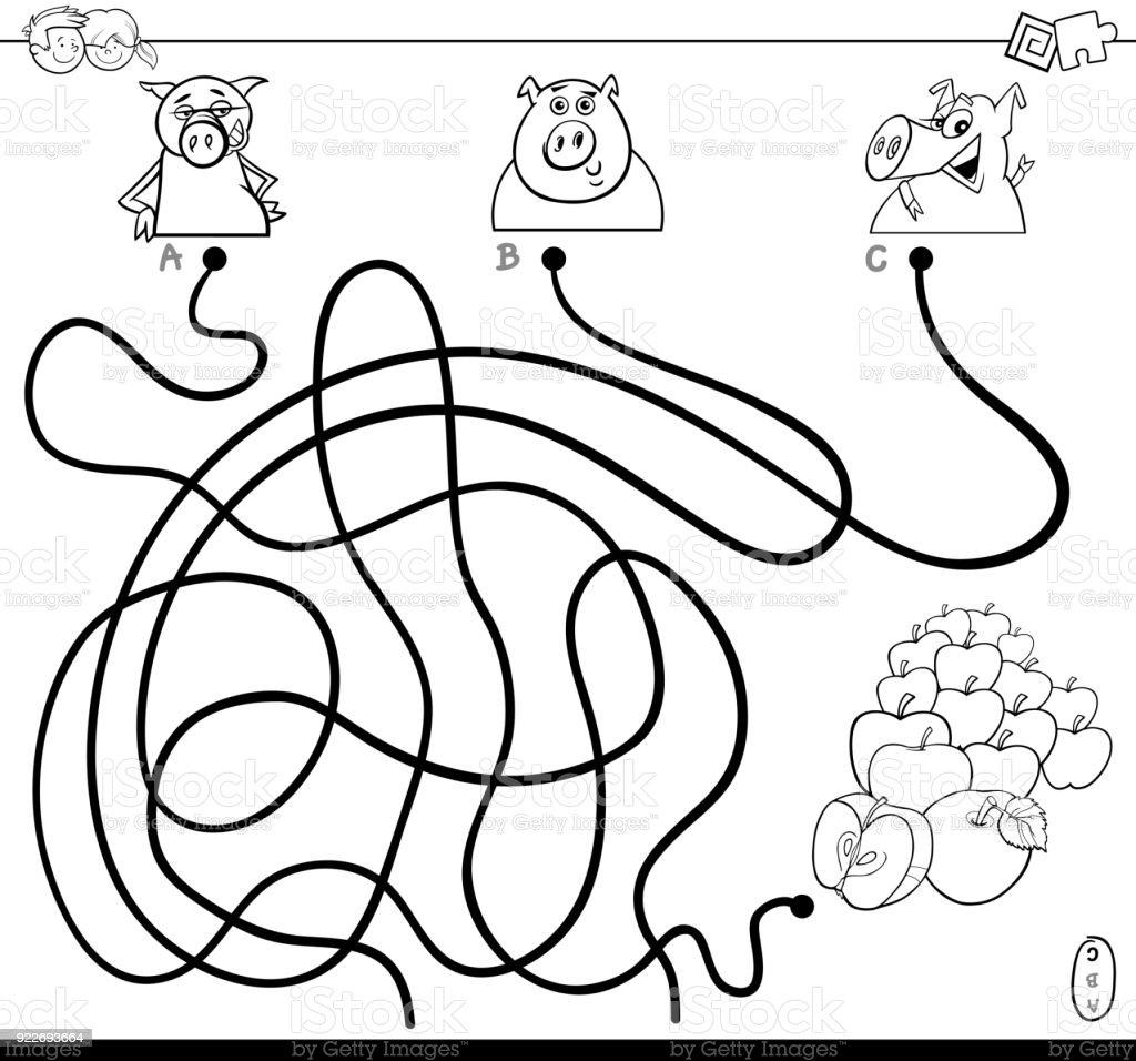 Ilustración de Laberinto De Camino Con El Libro De Los Cerdos Y Las ...