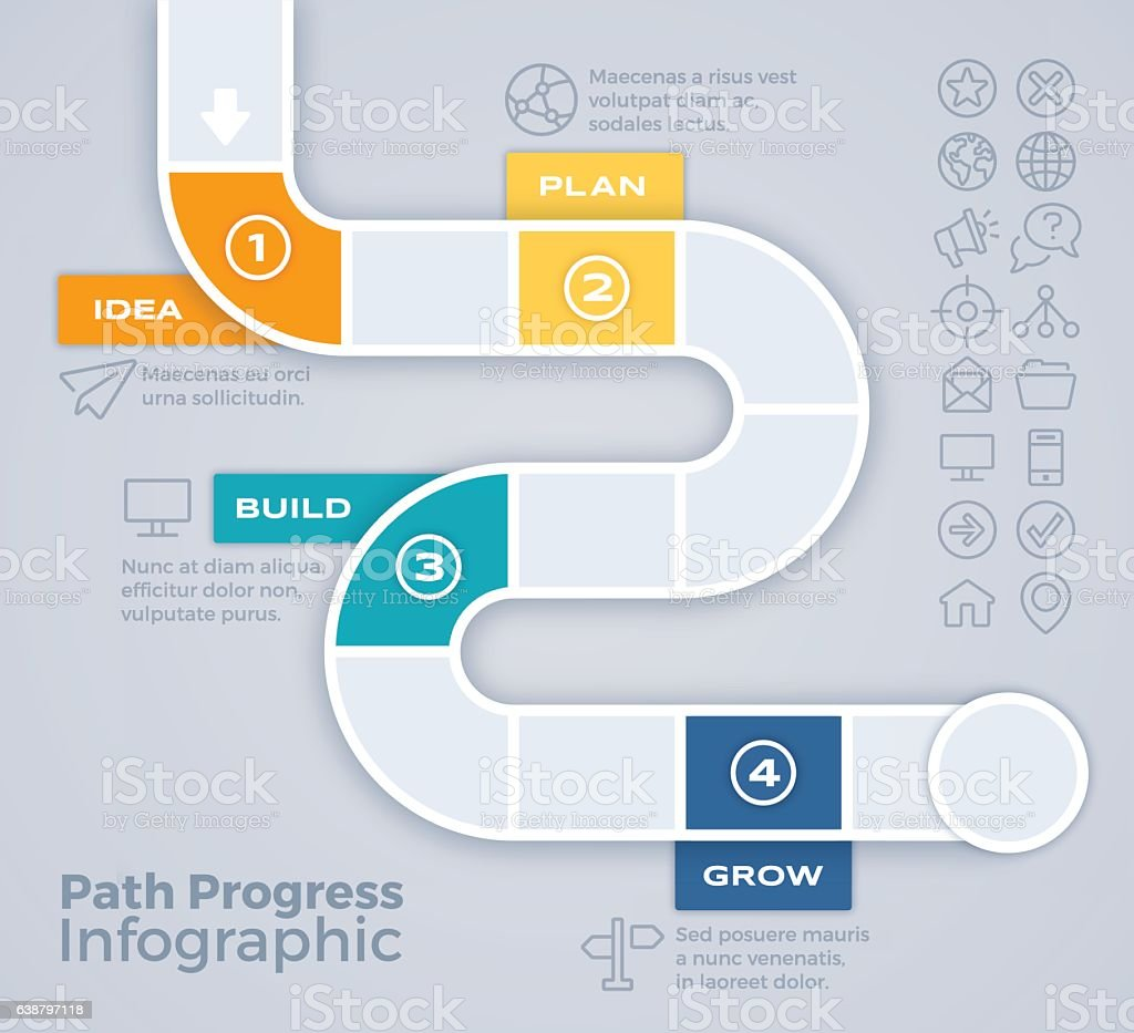 Path Progress Process Infographic vector art illustration