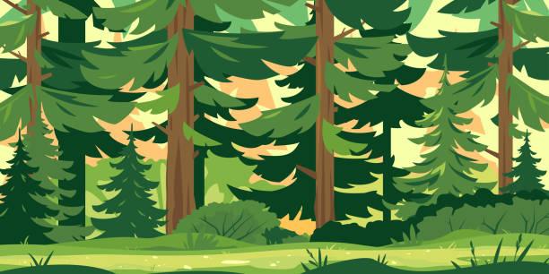 bildbanksillustrationer, clip art samt tecknat material och ikoner med stig genom skogen - forest