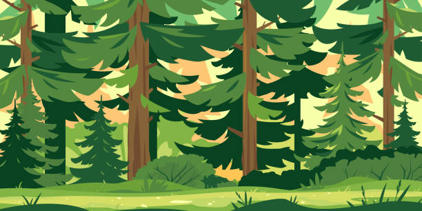 path through the forest - forest stock illustrations
