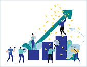 path to a target's growth vector illustration banner. achievement business concept. flat cartoon character design for web. People standing at the top graph.