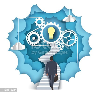 994786356 istock photo Path to idea, vector illustration in paper art style 1198816234