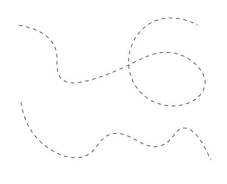 Path travel dotted line trip dashed trace transportation track and silhouette, travelling symbol vector illustration. Transport way pathes lines traces black design isolated on white background