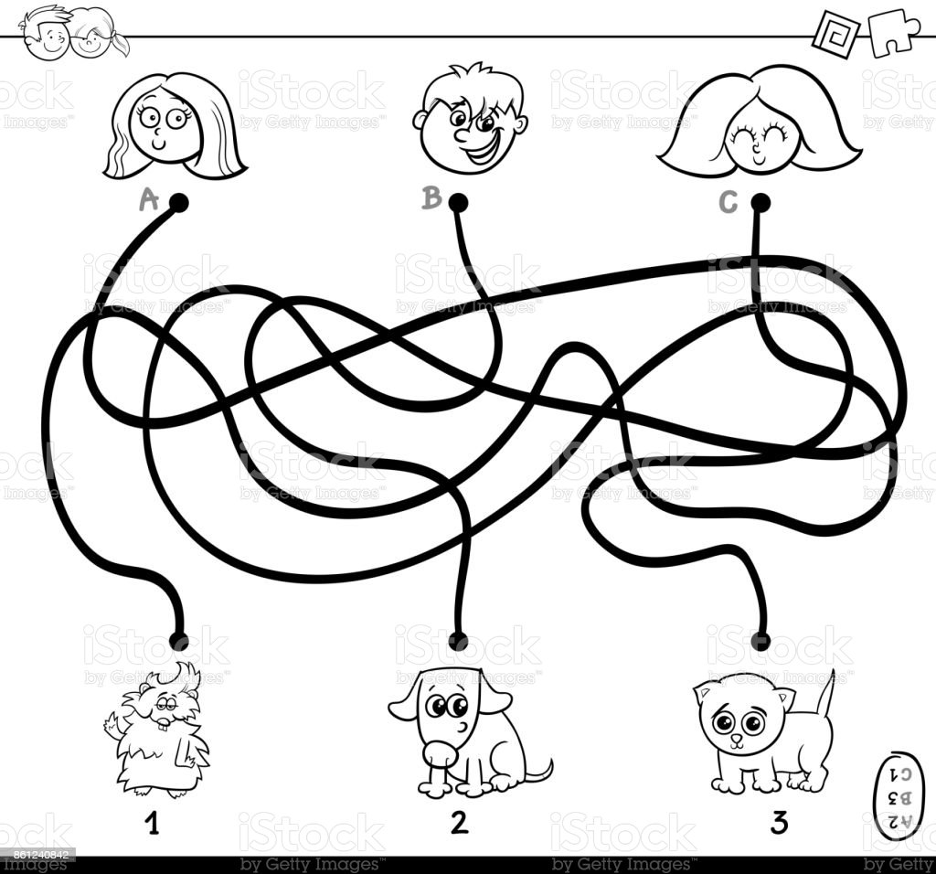 Paths Maze With Kids And Pets Coloring Page Stock Vector Art & More ...