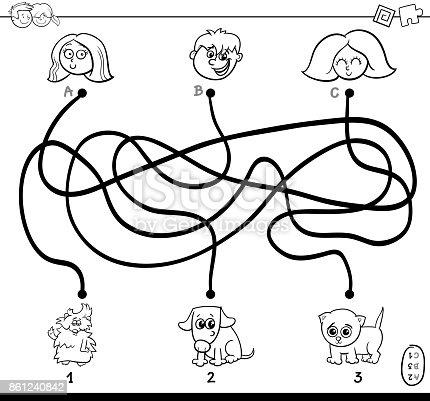 istock laberinto con gato y página para colorear de lana 800352736 ...