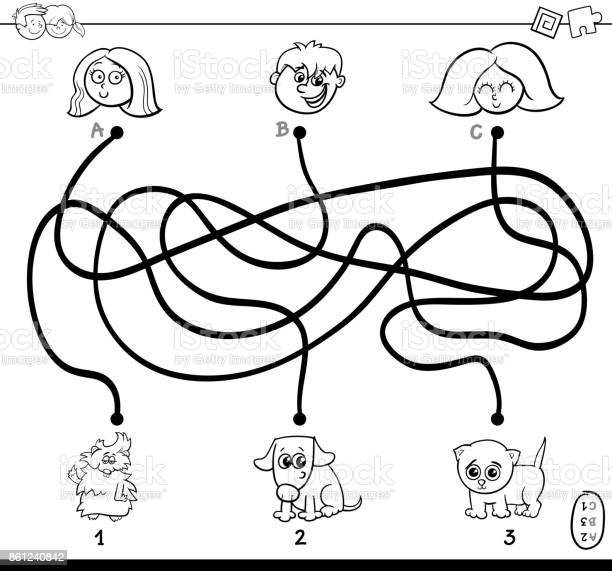 Paths maze with kids and pets coloring page vector id861240842?b=1&k=6&m=861240842&s=612x612&h=8gvhpjxeh9tauxwxhrvl jpce8cgbopbsyxq43kanoi=