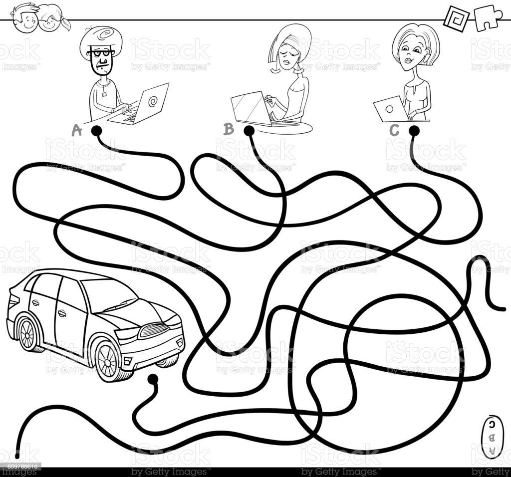 Ilustración de Laberinto De Senderos Con Personas Y Coche Para ...